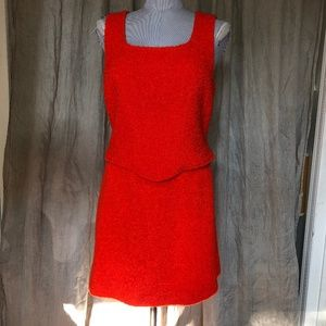 SI YOU Italy gorgeous orange boucle knit suit 10